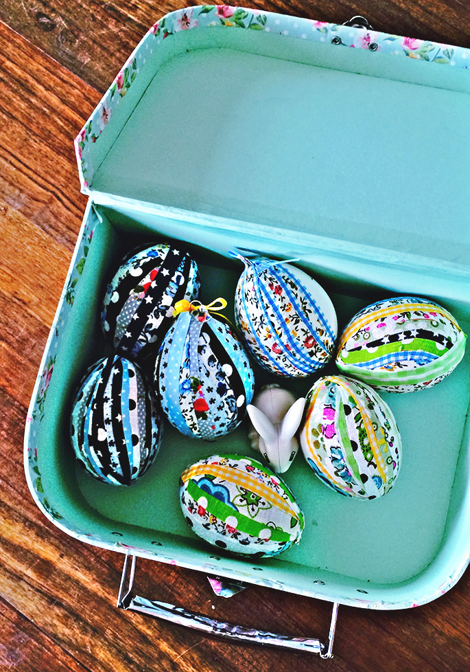 Patchwork fabric Eggs in box