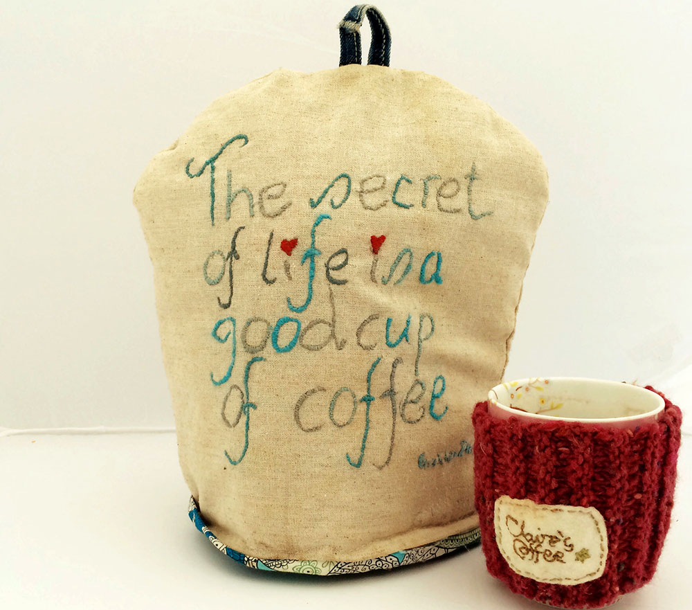 Embroidered coffee cosy