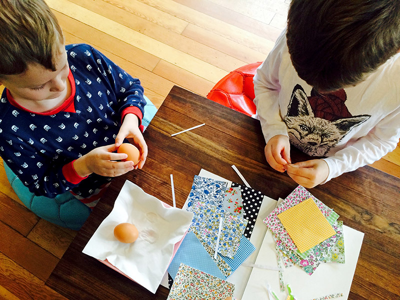 No Sew Patchwork Fabric Easter Eggs