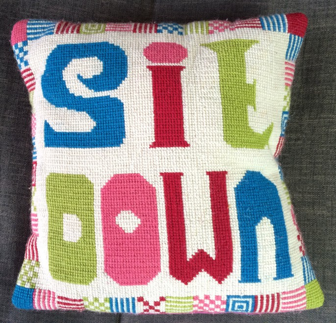 Make this fun supersized cross stitch pillow and add some humour to your sofa.  Unique free pattern.