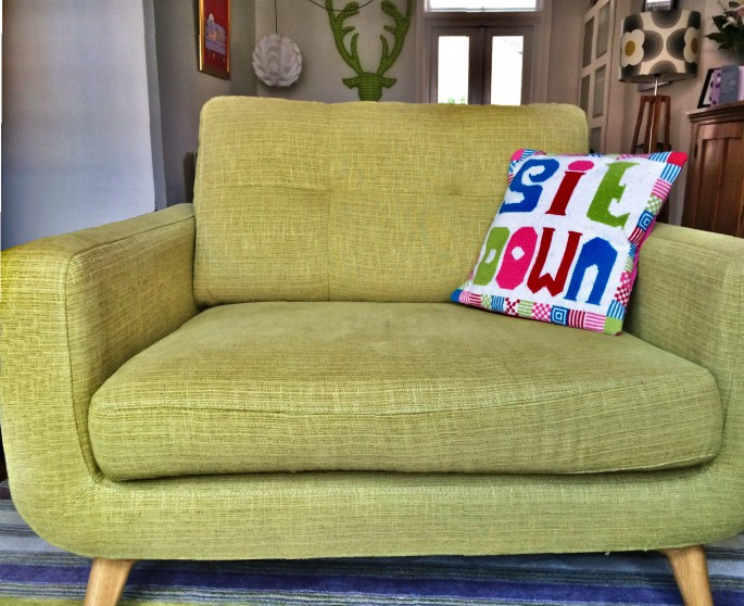 Supersized cross stitch cushion