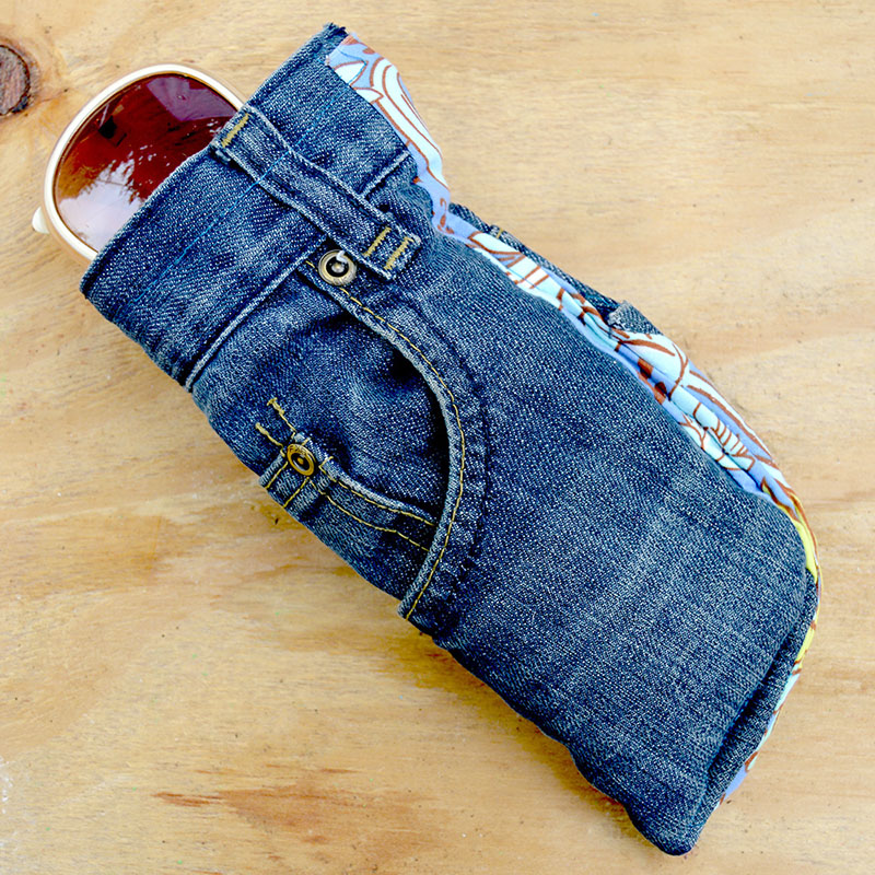 finished upcycled jeans DIY sunglasses case