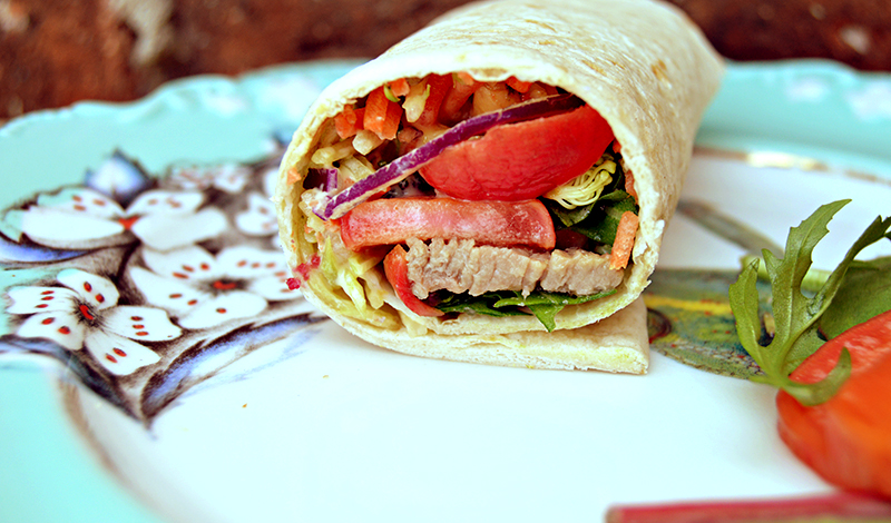 Asian beef salad pickled radish wrap