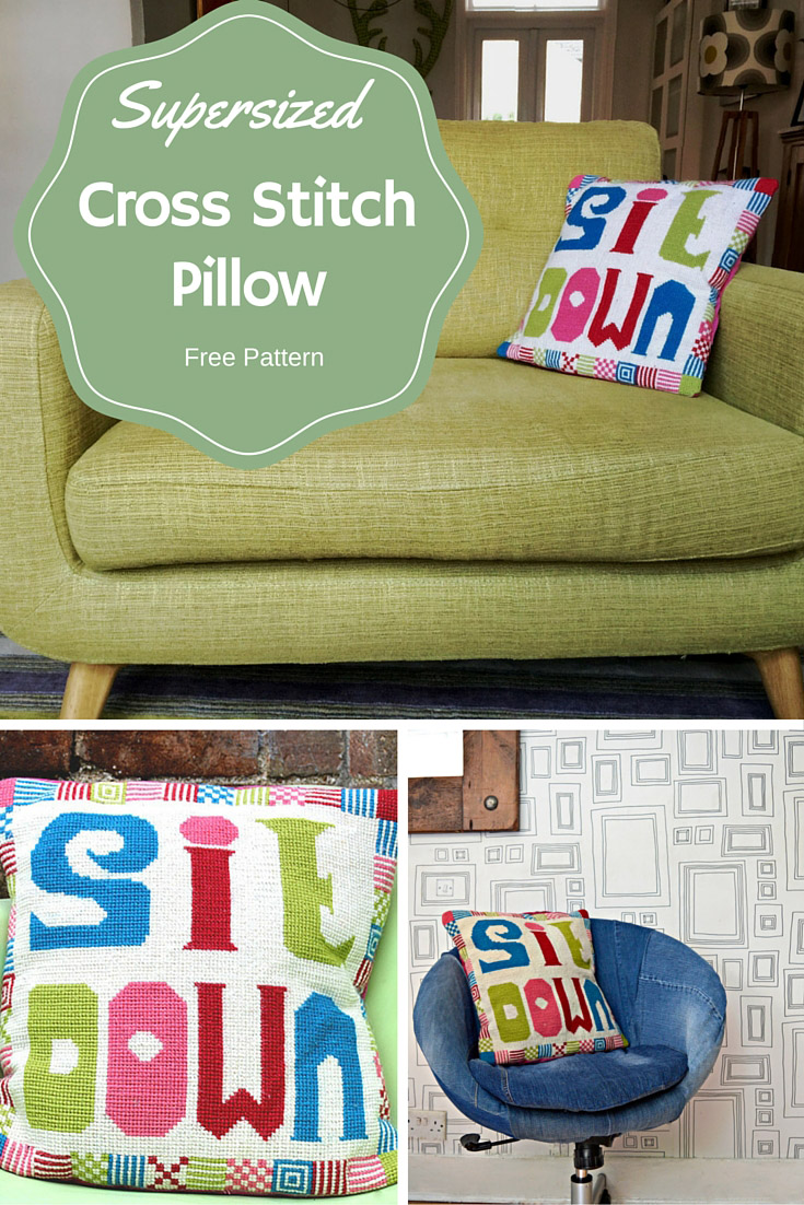 Add some fun to your sofa with this retro cushion.  Supersized cross stitch (needlepoint), big stitches and big wool so faster than your normal cross stitch.  Free pattern.