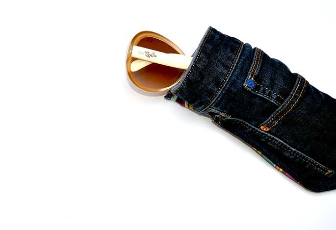 Upcycled jeans DIY glasses case