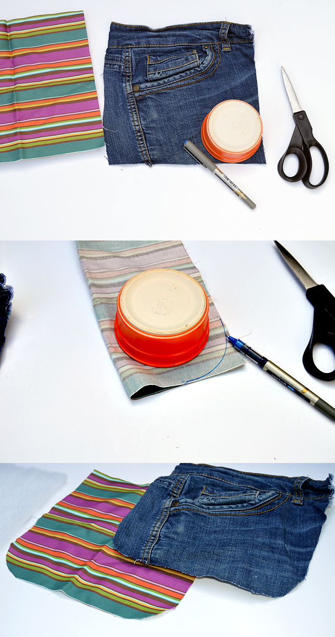 Upcycled jeans sunglasses case circle cut