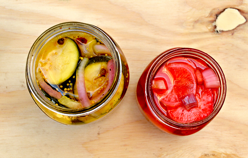 Homemade pickled radish and courgette