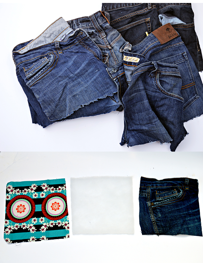 Upcycled jeans sunglasses case project
