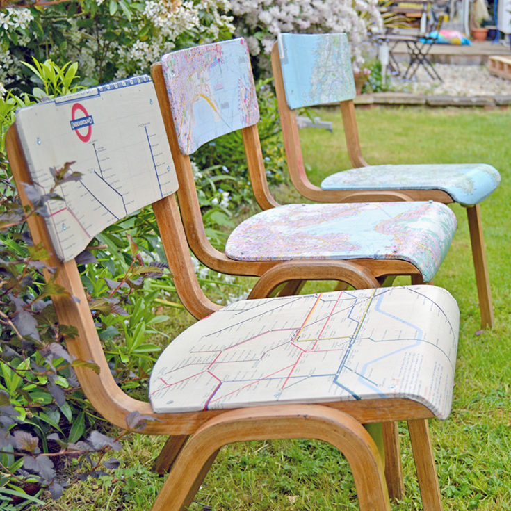 Decoupaged map chairs