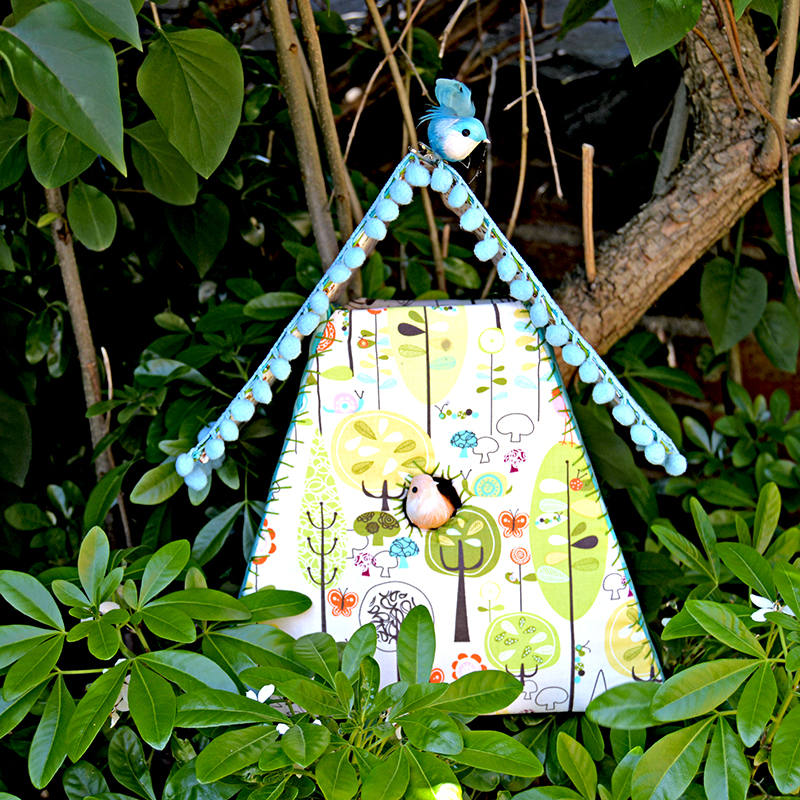 Fabric birdhouse pillarboxblue.com