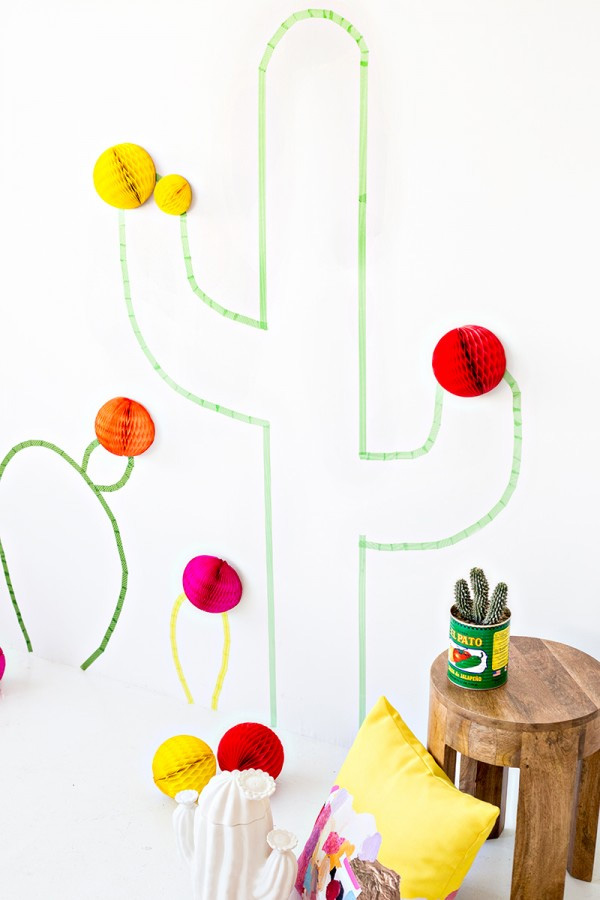 Washi tape cactus wall art studiodiy.com