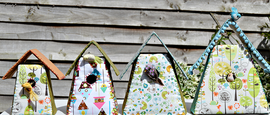 Fabric Birdhouses Pillarboxblue.com