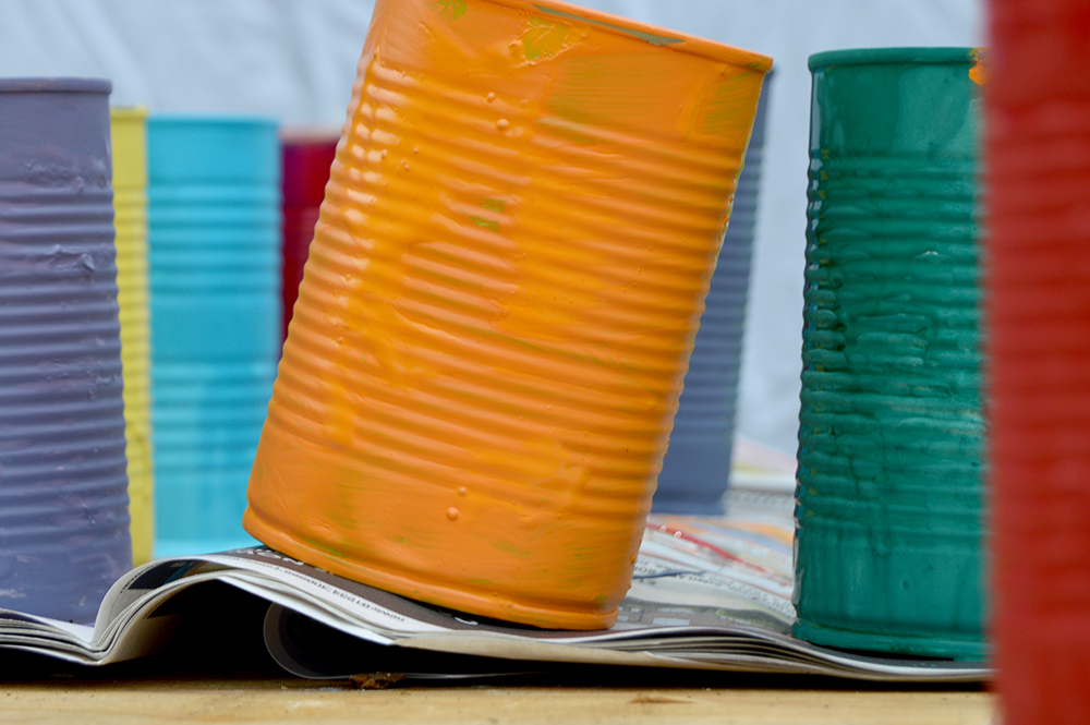 rainbow painted tin cans