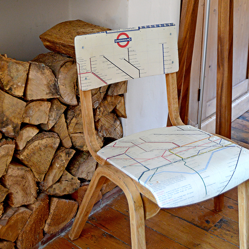 Map Decor Crafts London tube Map Chair Pillarboxblue.com