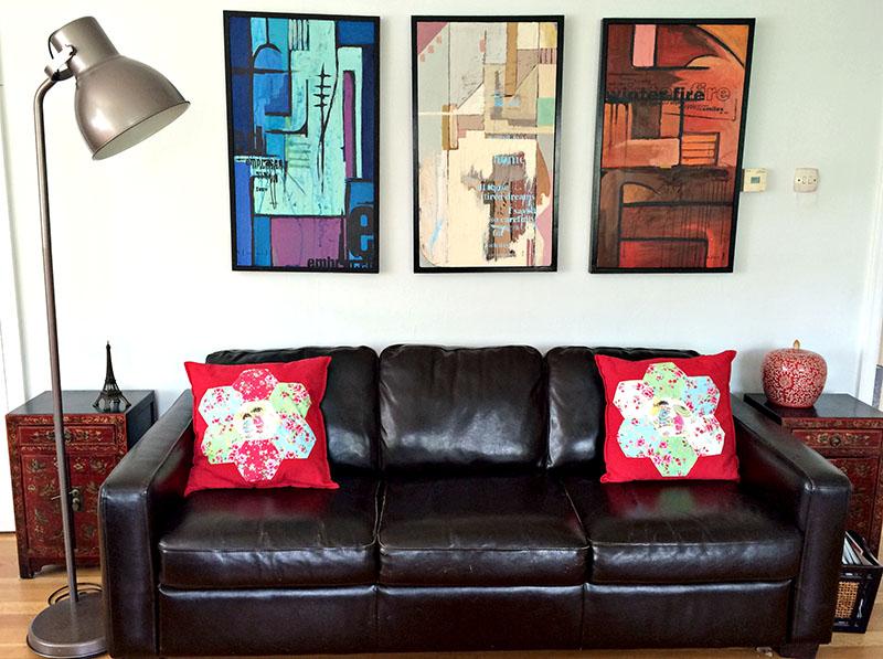 Patchwork cushions pillarboxblue.com