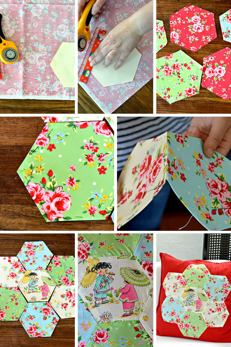 Applique hexagon patchwork