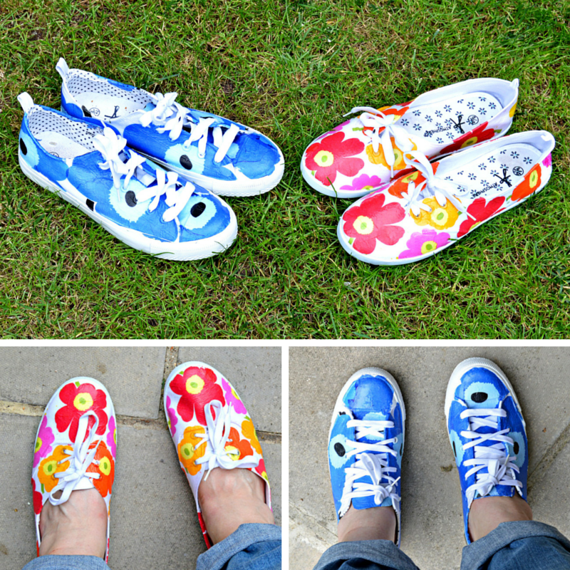 DIY Marimekko Shoes Pillarboxblue