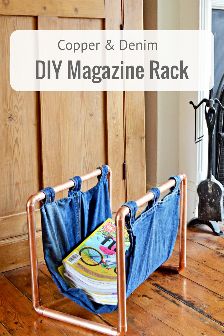 By upcycling a pair of old jeans and some copper piping, you can make this on-trend denim and copper DIY magazine rack.  Full  tutorial.