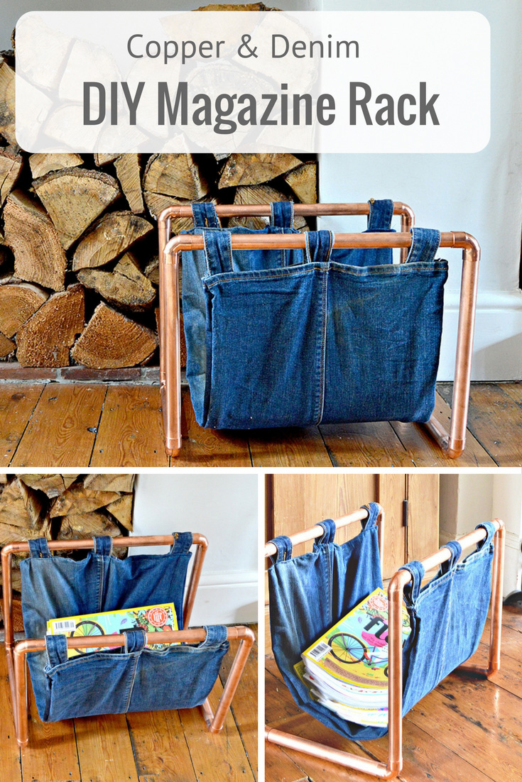 how to make a trendy copper and denim diy magazine rack