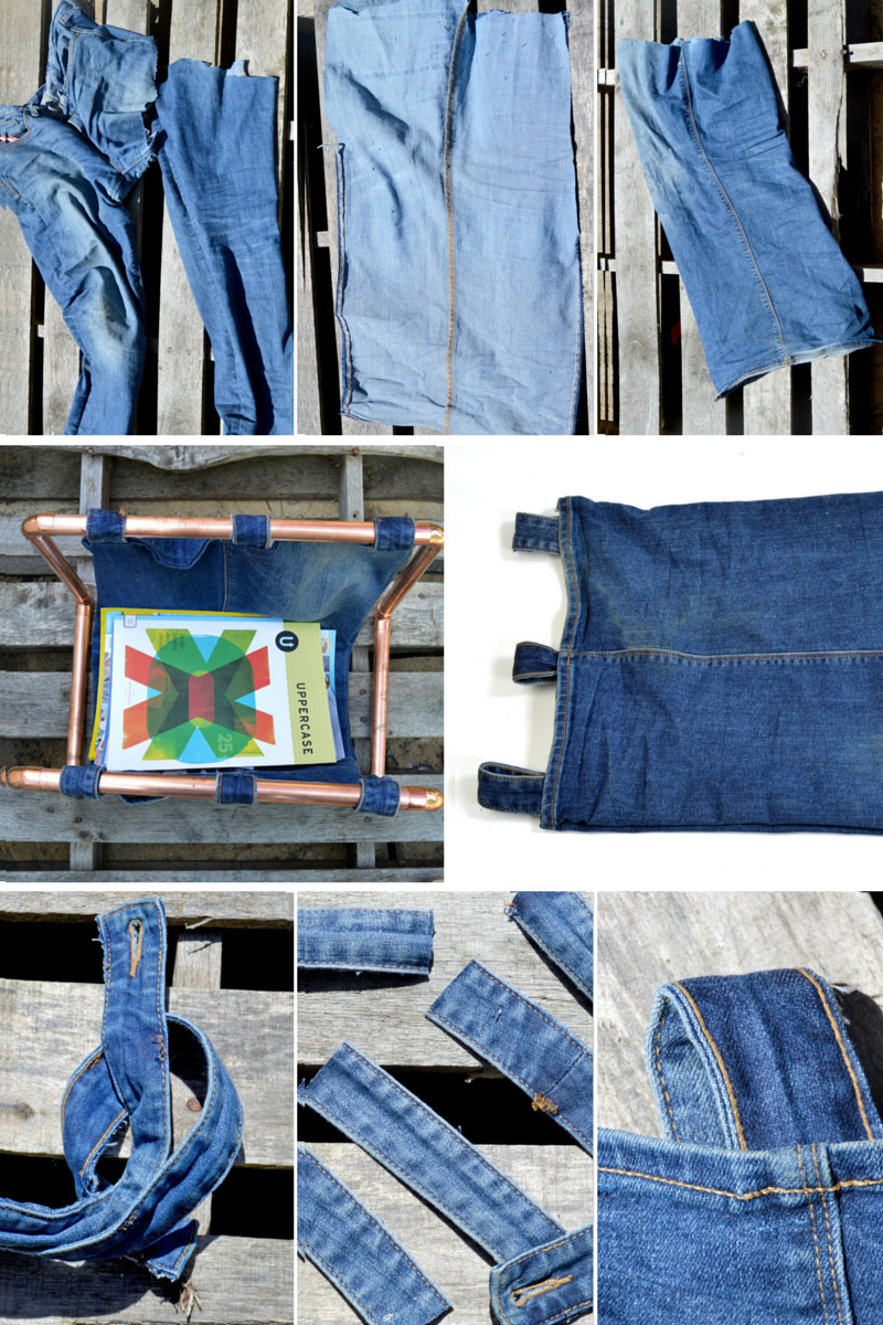 How to make a denim sling for a copper DIY magazine rack by upcycling an old pair of jeans.