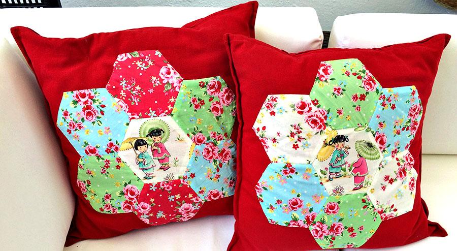 Hexagon Patchwork cushion Pillarboxblue