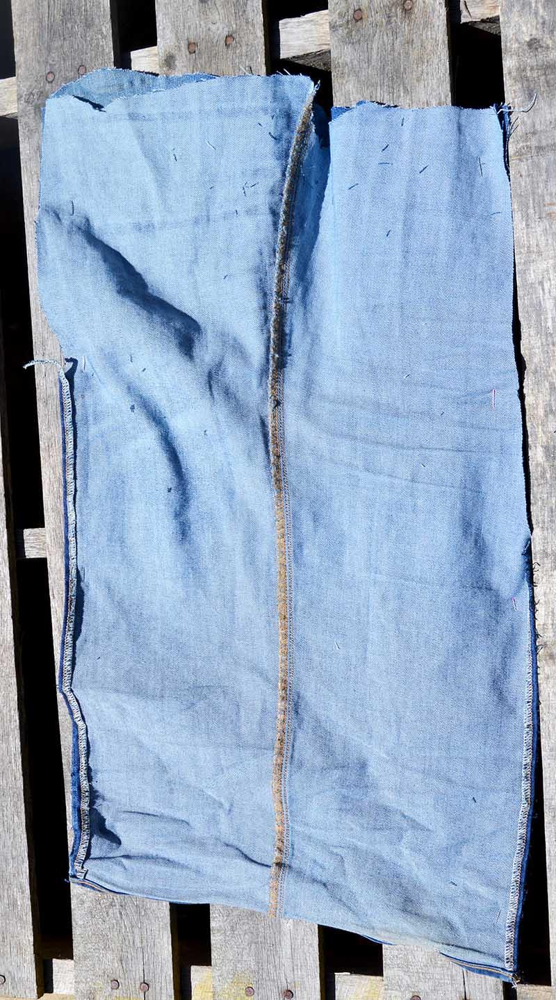open jeans leg for magazine rack sling