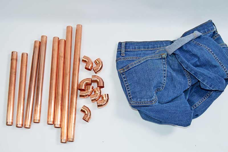 copper pipes and jeans