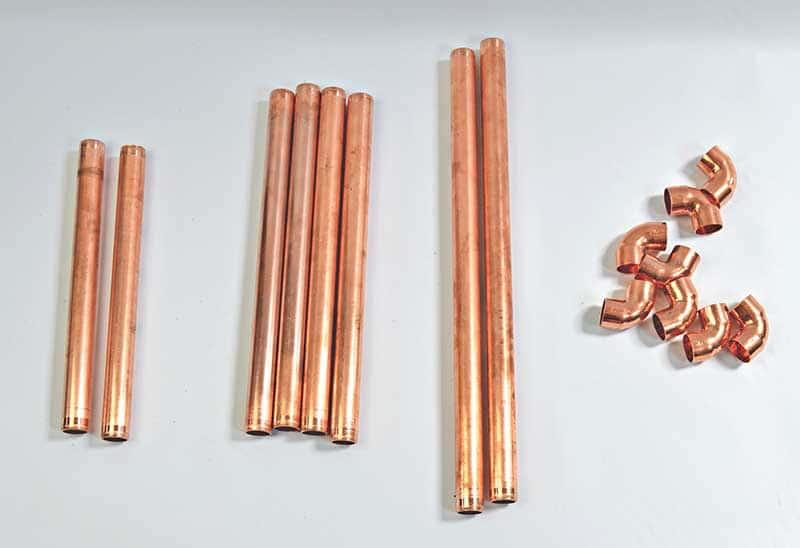 Copper pipe pieces