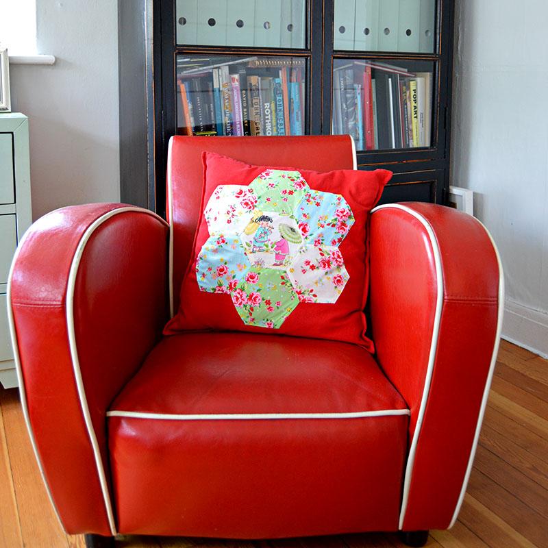 Applique patchwork cushion