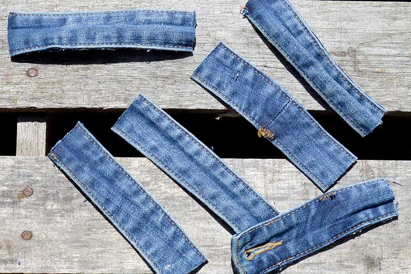 cut denim waist band