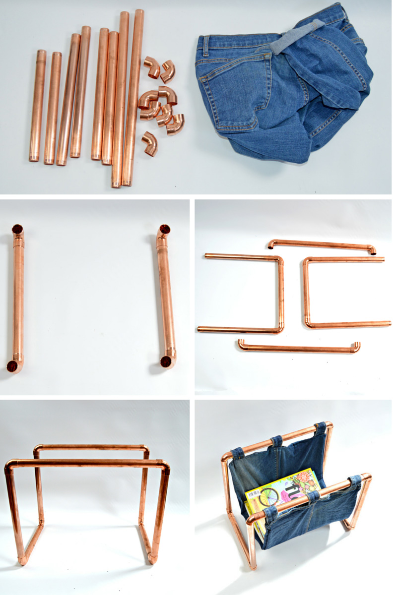 How to create a copper pipe frame for a DIY magazine rack.