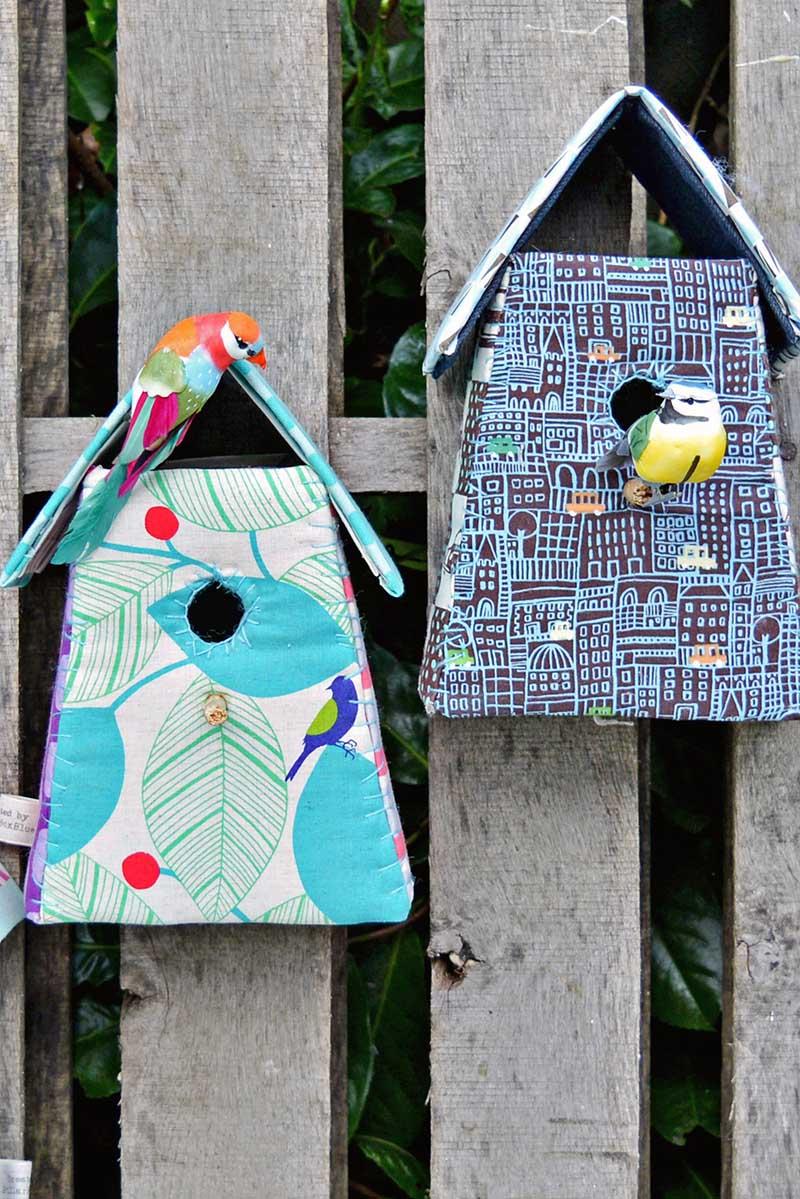scrap fabric birdhouses