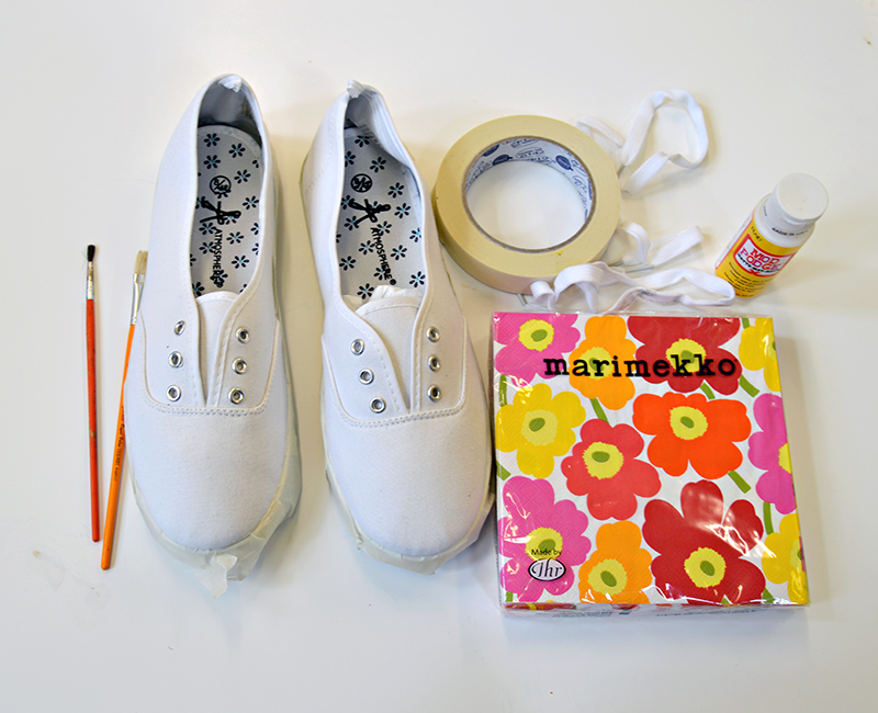 What you need for DIY Marimekko Shoes