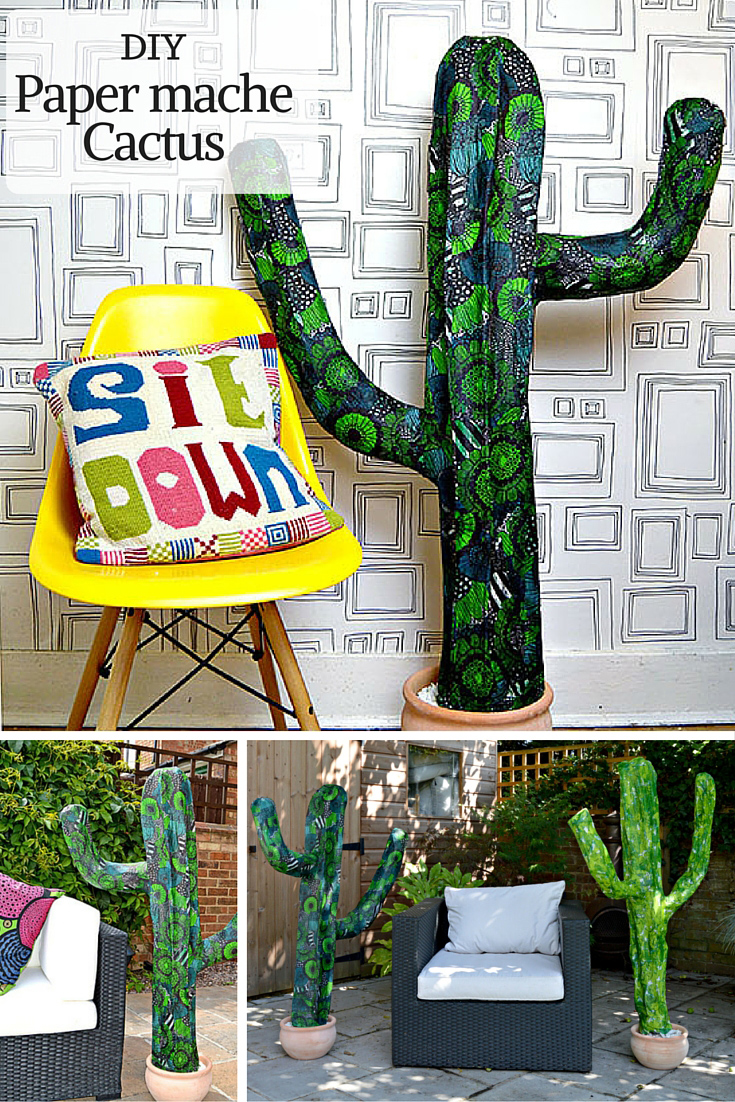 Add some fun to your home and garden decor with these easy to make giant paper mache cactus.  Great for parties.
