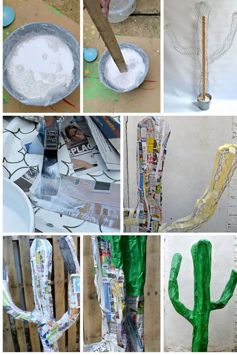 Easy Diy Giant Paper Mache Cactus Pillar Box Blue