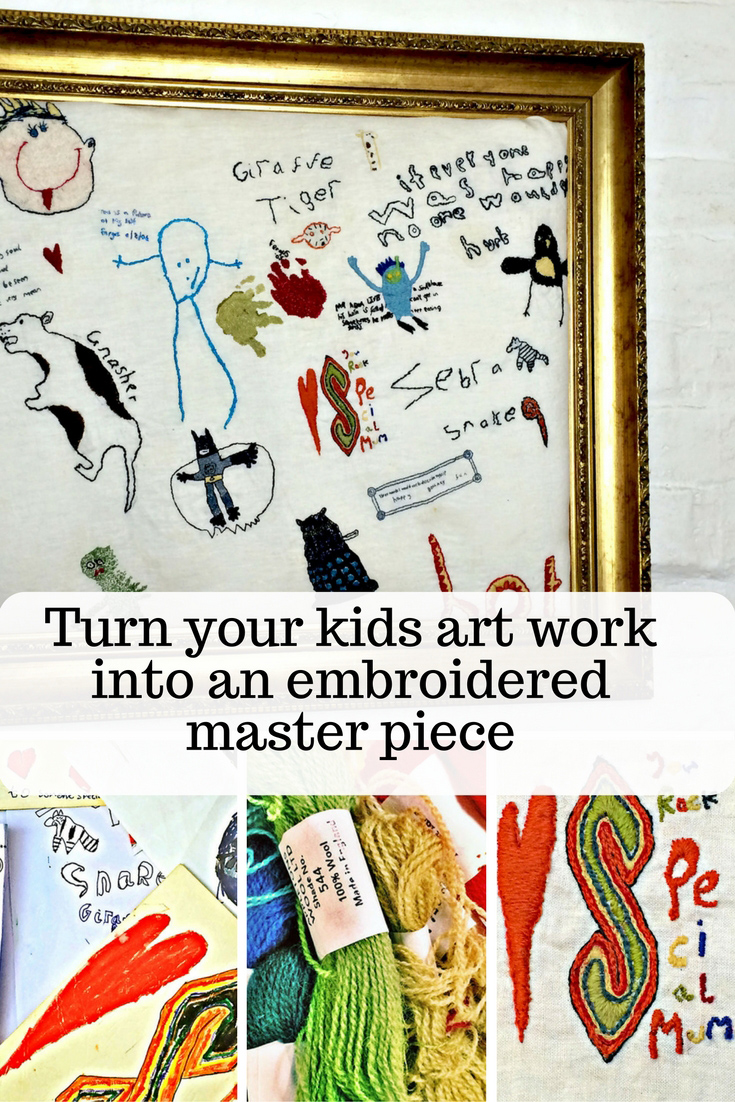 Do you have a draw full of your kids artwork that you can't bare to throw away.  Well here I show you how you can turn them into your own embroidered memories masterpiece.