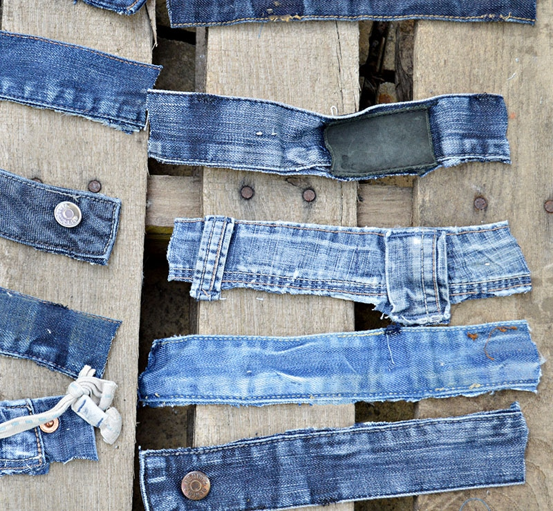 denim tags for hanging loops