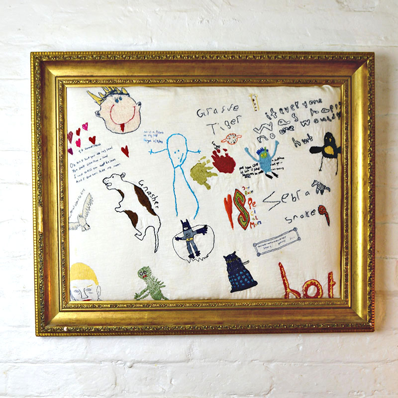 Embroidered children's art work