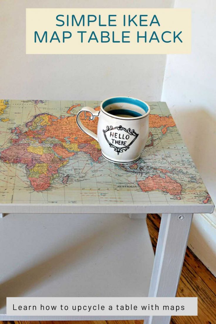 Learn how to transform a boring IKEA side table with a stunning world map and make it into a talking piece.  This is a very simple and affordable upcycle of a table.