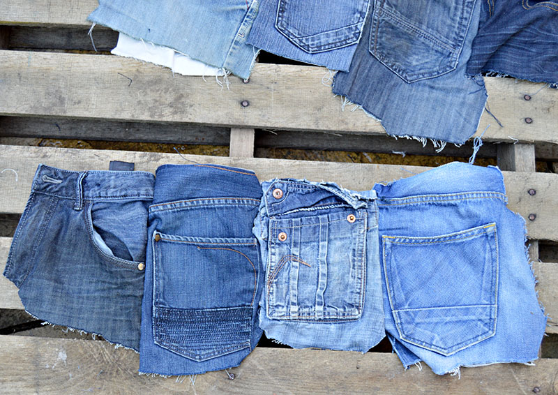 sewn row of jeans pockets