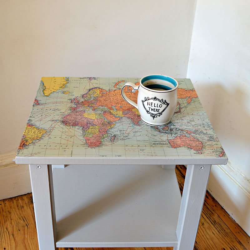 Upcycled map table