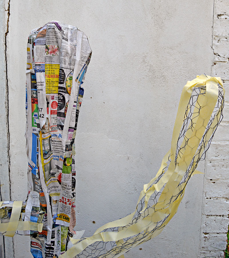 masking tape on chicken wire