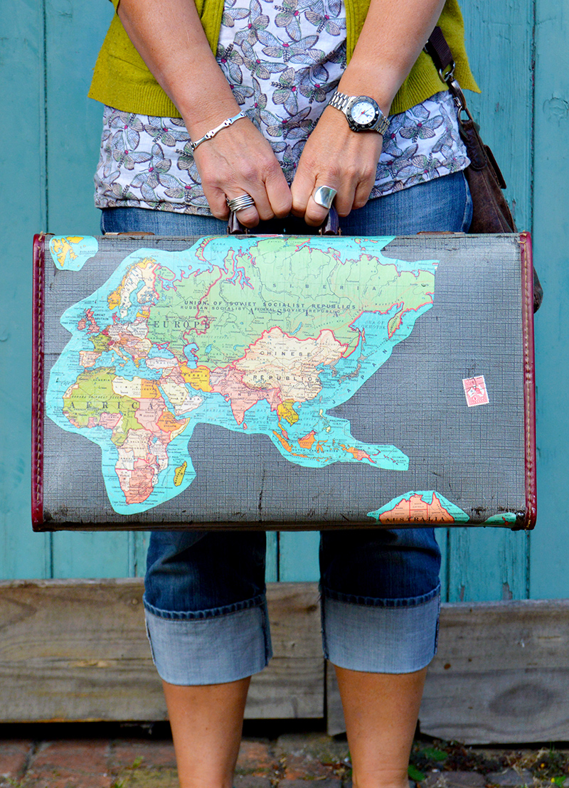 Upcycled vintage map suitcase - Wait till you see the inside it's even better.  Full Tutorial