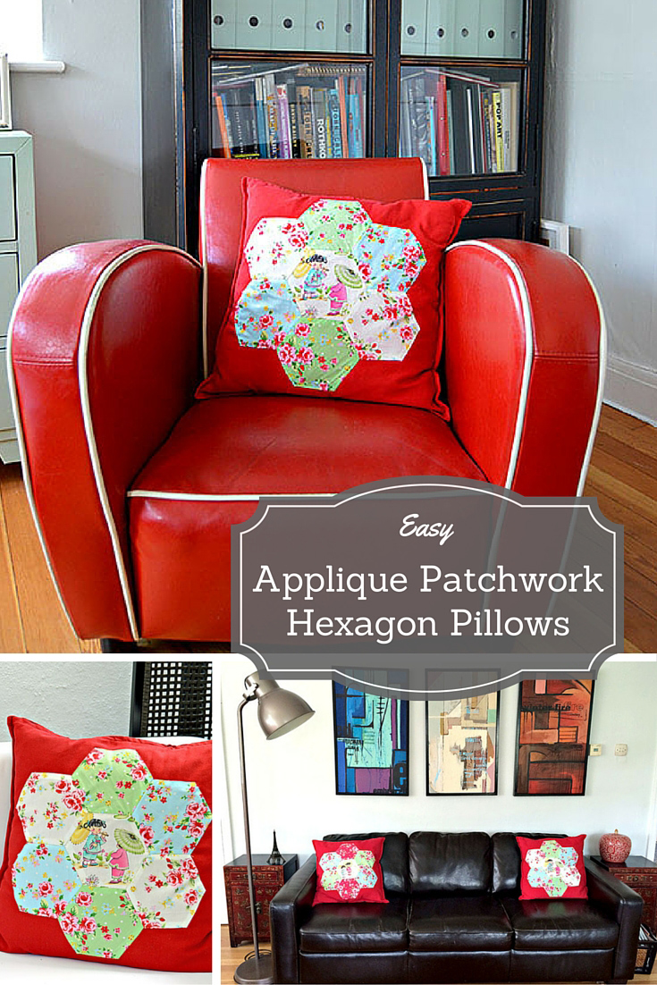 Applique patchwork hexagon cushion - These retro chinese pillows are really easy to make great sewing project for all levels. No machine needed.