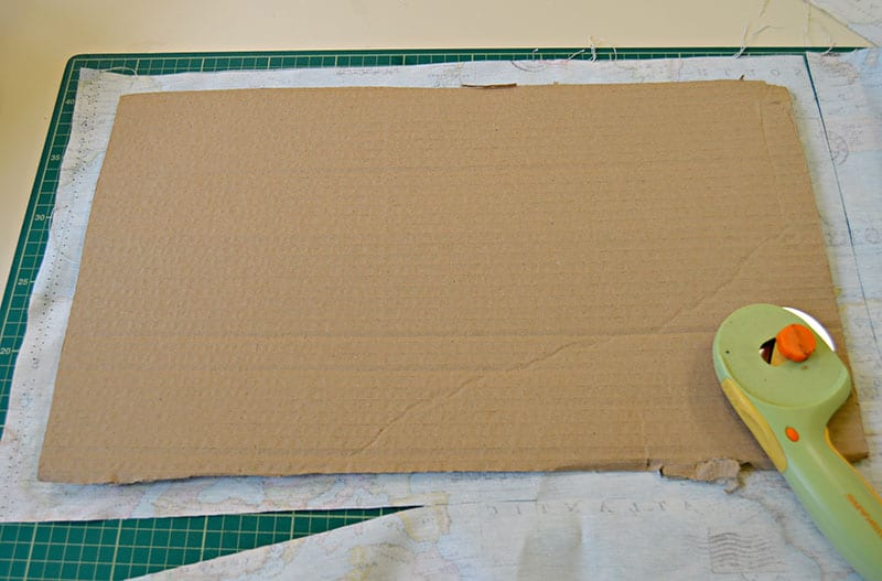 cutting fabric to fit cardboard base and top