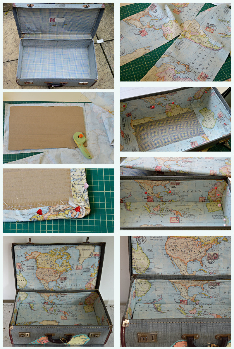 Lining a map suitcase