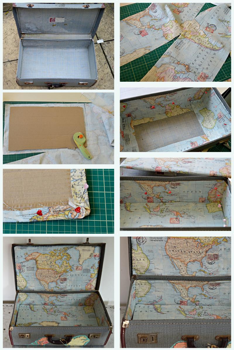 Brilliant Vintage Map Suitcase Tutorial - Pillar Box Blue