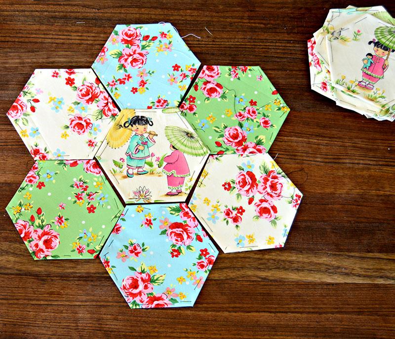 Arranged hexagons design for hexagon patchwork pillow