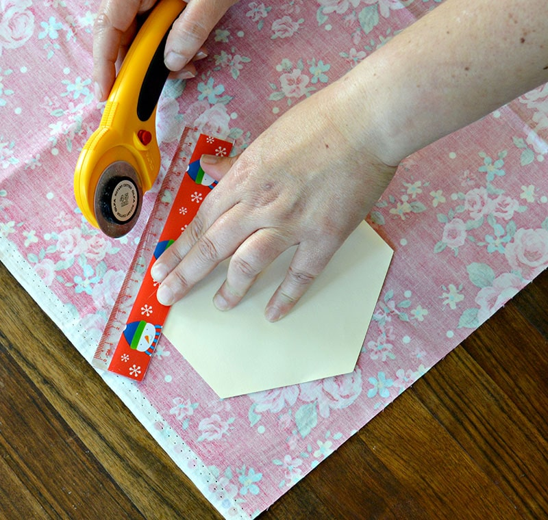 Cutting the fabric hexagons