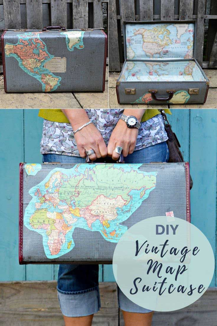 How to upcycle a vintage suitcase with maps